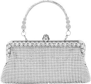 topfive Clutch-Geldbörse Abendtasche Kristall Frauen Prom Party Tasche Hochzeit Party Braut Handtasche für Frauen, silber