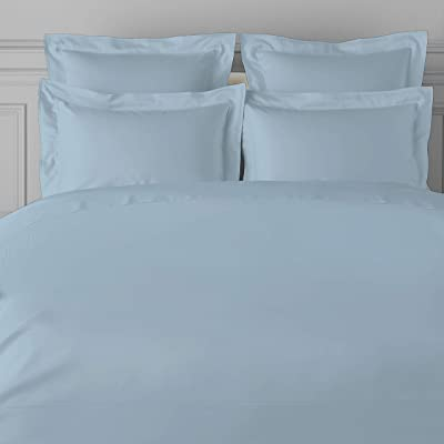 Amazon Brand - Umi. 100% Cotton 600TC Solid Bedsheet - King Size, Dusty Blue with 2 Pillow Covers