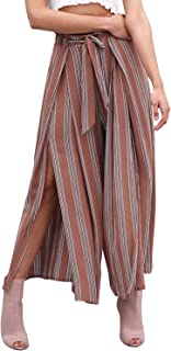 Simplee Women's Elegant Striped Split High Waisted Belted Flowy Wide Leg Pants