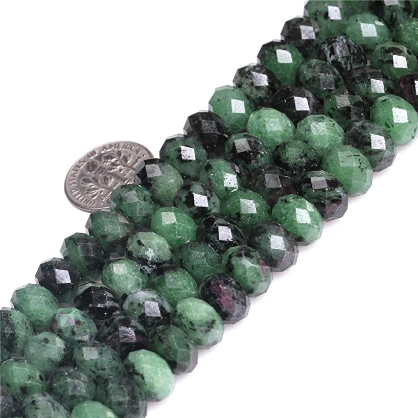 3x5mm Natural Green Ruby Zoisite Stone Gemstone Semi Precious Faceted Rondelle Spacer Beads for Jewelry Making