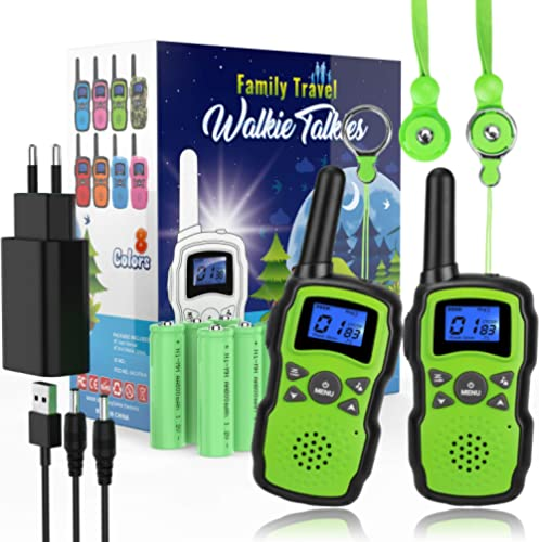 Wishouse Talkie Walkie Rechargeable Enfants Longue Portée avec Batterie 2X3000mAh Chargeur USB Talkie-Walkie Garçon a...