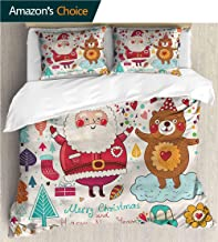 VROSELV-HOME Style 3D Digital Print Bedding Sets,Box Stitched,Soft,Breathable,Hypoallergenic,Fade Resistant 100% Cotton Beding Linens for Kids Children-Christmas Santa and Teddy Bear (68