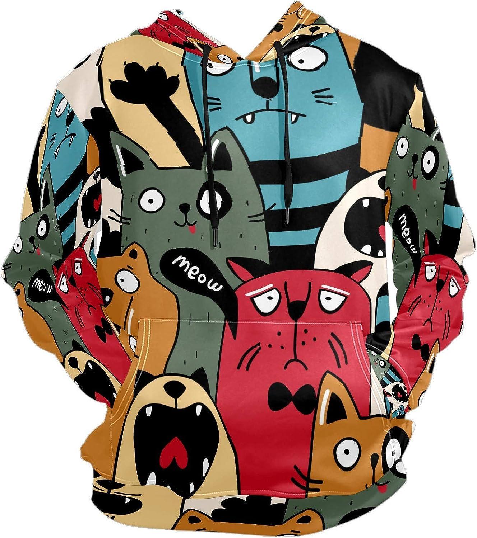 Men's Sport Hoodie Cat Comic Cartoon Meow Big and Tall Hoodies for Men Women Oversized Hooded Sweatshirt Hip Hop Pullover Hoodie Midweight Hood for Boys Girls