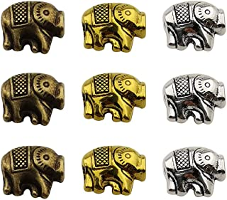 Youdiyla 45pcs Elephant Spacer Beads, 10mm, Antique Silver+Bronze+Gold Tone, Animal Metal Spacer Beads Charm, DIY for Bracelets (HM228)