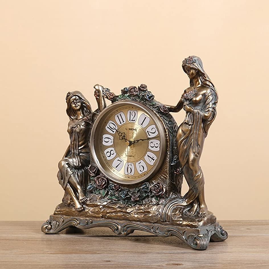安全意欲特異性ALUP- ヨーロッパの樹脂ミュートテーブルクロックリビングルームの研究創造的なファッションの装飾品の机の時計ベッドルームのベッドサイドの机の時計 (色 : ブロンズ)