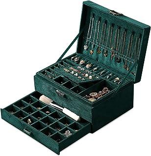 Boîte à Bijoux pour Femme, Coffret à Bijoux Verrouillable de Voyage 3 Couches Organisateur à Bijoux, Jewelry Stockage Cas ...