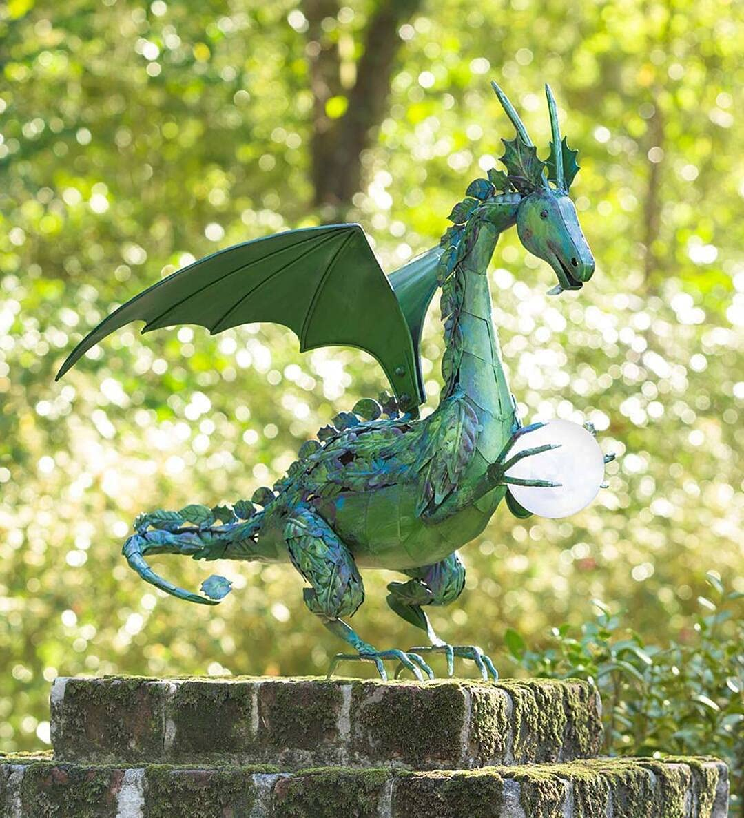 Green Dragon Statue with Solar Max 85% OFF trust Outdoor Garden Pearl Stat