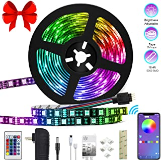 LED Strip Lights Color Changing LED Strip Lights 16.4ft SMD 5050 RGB Light Strips with Bluetooth Controller Sync to Music Apply for TV Bedroom Bar Party and Home Decoration