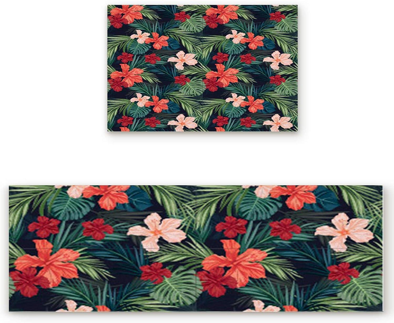 SODIKA 2 Pieces Kitchen Rug Set,Non-Skid Slip Washable Doormat Floor Runner Bathroom Area Rug Carpet,Tropical Plant Hawaiian Flower (19.7x31.5in+19.7x63 inches)