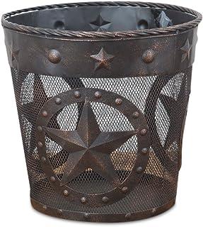 DeLeon Collections Western Star, Rope Trim Metal Wastebasket