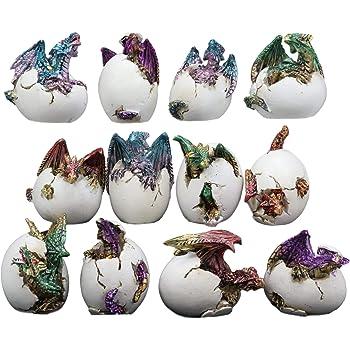 Colorful Fantasy Egg Hatchling Baby Dragon Wyrmling Twins Figurines Set of 2