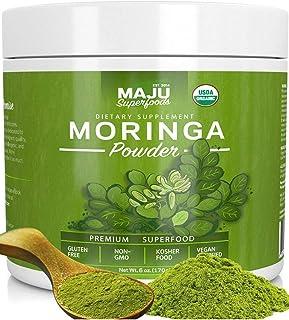 Maju's Organic Moringa Powder: Guaranteed Purest, USDA Organic, 100% Raw Premium Moringa Oleifera Leaf Powder by Maju Superfoods