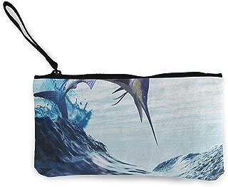 Canvas Coin Purse Fantasy Blue Marlin Fish Burst Through Ocean Wave Customs Zipper Pouch Wallet For Cash Bank Car Passport
