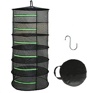 HYDGOOHO Herb Drying Rack Net Dryer 6 Layer 2ft Black W/Green Zippers Mesh Hydroponics