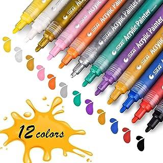 Acrylstifte Marker Stifte, STA permanent marker 12 Farben mittlere Strichstärke,..