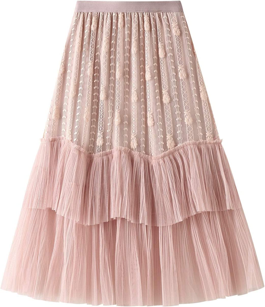 Women's Tulle Skirt Maxi Long A Line High Waist Mesh Layered Skirt Floral Lace Pleated Mesh Midi Skirt Party Tutu Skirt (Color : Pink, Size : One Size)