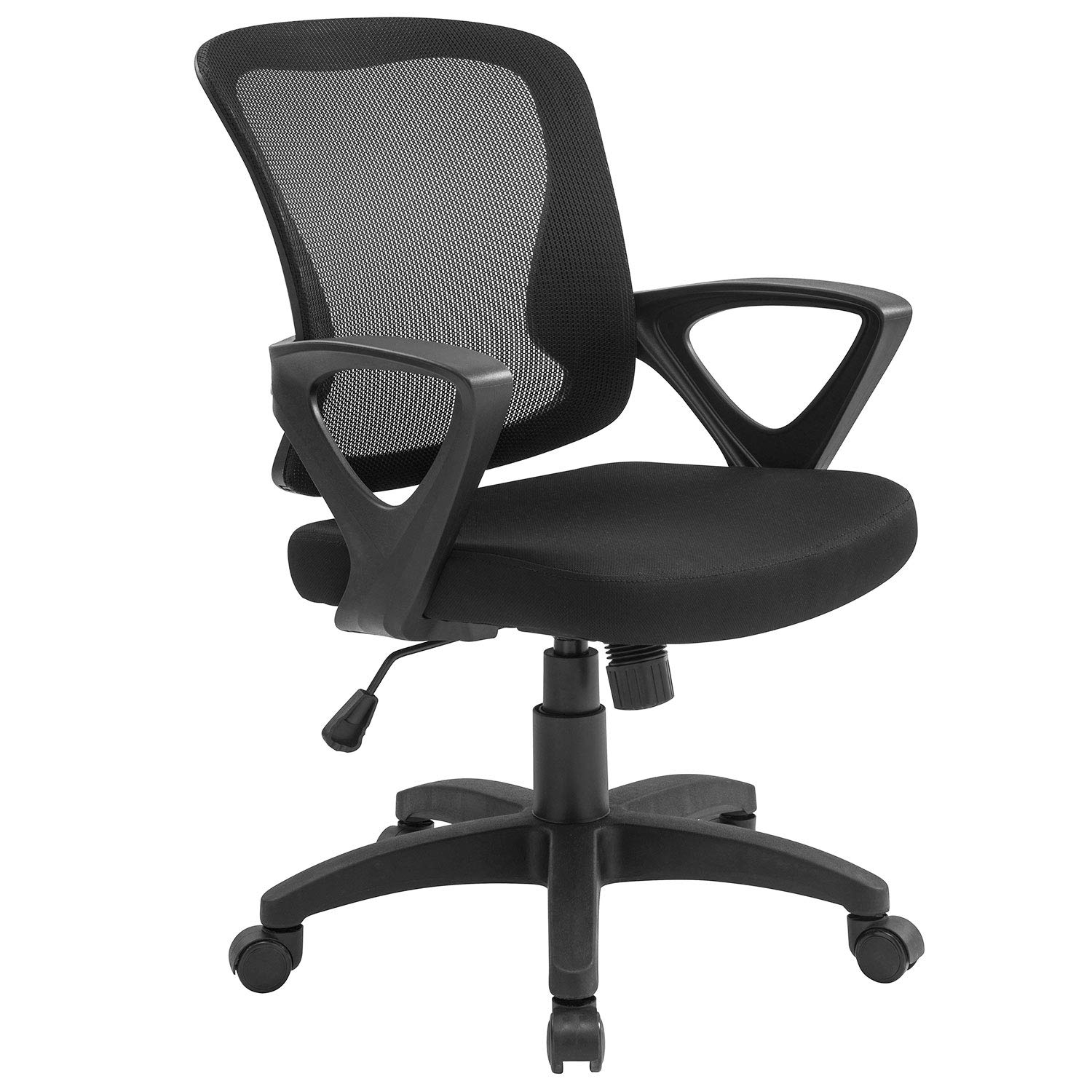 Home Office Chair Ergonomic Desk Chair Adjustable Height Modern Mid Back Swivel Chair for Small Place, Black Office Chairs