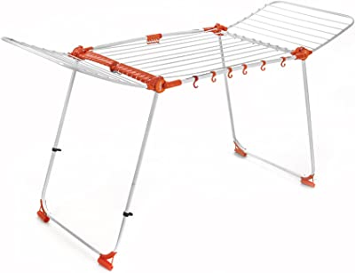 Bathla Mobidry Axis - Large Foldable Cloth Drying Stand with Weather Resistant Frame with Advance 4-Step Foldable Aluminum Ladder with Sure-Hinge Technology (Orange) Combo