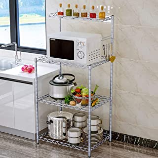 LWKBE 4-Tier Microwave Bakers Wire Rack with Adjustable Shelf Multifunctional Metal Storage Rack Organizer Shelving Unit with Hooks 22 8 13 8 48inch Silver