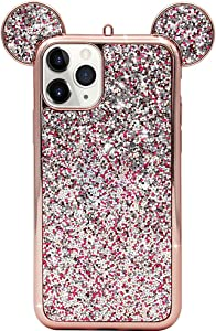 MC Fashion iPhone 12 Pro Max Case, Cute 3D Sparkly Bling Glitter Mickey Mouse Ears Case for Teens Girls Women, Slim Fit Full-Body Protective TPU Case for iPhone 12 Pro Max 6.7 inch 2020 (Rose Gold)