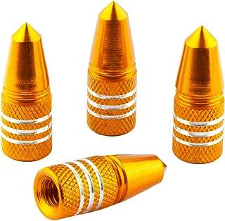 Bike Bits Presta Valve Caps - Anodized Aluminum - Use On Presta/French Valves - Designs: Bullet, Rocket, Hamburger, Pocket Rocket (4 Pack)