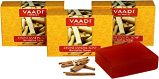 Sandalwood Soap (Sandalwood Oil Bar Soap) with Saffron and Turmeric Extracts - Handmade Herbal Soap (Aromatherapy) with 100% Pure Essential Oils - ALL Natural - Skin Whitening Therapy - Each 2.65 Ounces - Pack of 3 (8 Ounces) - Vaadi Herbals