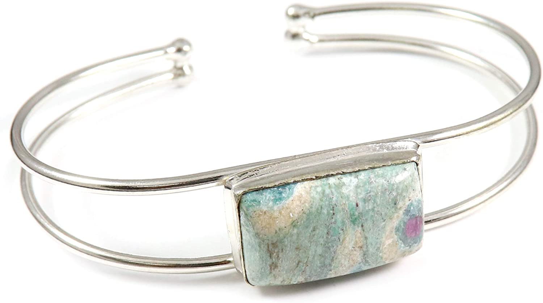 GoyalCrafts sale Ruby Fuchsite Cuff Bracelet Jewelry Plated Na trend rank Silver