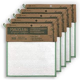 [Pack 5] Bayeta de fibra bambu Natural Organico Ecologica Limpieza sin Detergente Secado Rapido Facil Desengrasado Altiolo...