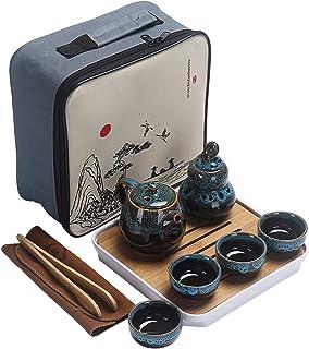 Ceramic Kungfu Tea Set,Portable Travel Tea Set with Teapot,Teacups,Tea Canister,Tea Tray and Travel Bag,Suitable for Trave...