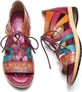 499ecd421c8a7c Camfosy Sandales Femmes Plates Cuir, Chaussures Été Spartiates Plates à  Lacets Semelle Confortable à Talons
