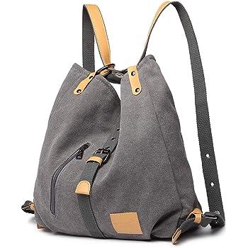 Kono Damen Canvas Handtasche Rucksack Frauen Schultertasche Shopper Tasche Vintage Hobo Umhangentasche Fur Arbeit Schule Reise Grau Amazon De Koffer Rucksacke Taschen