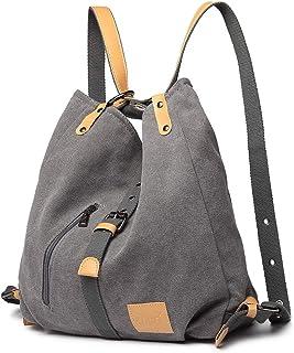 Kono Damen Canvas Handtasche Rucksack Frauen Schultertasche Shopper Tasche Vintage Hobo Umhängentasche für Arbeit Schule Reise Grau