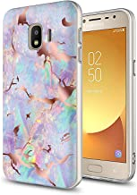 GORGCASE Case Compatible with Galaxy J2, J2 Core, J2 Dash, J2 Pure,Slim Anti-Scratch Thin Armor Hard PC TPU Bumper Shock-Proof Cute Bling Girls Women Protective Cover for Marble Light Purple