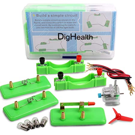 DigHealth Electric Circuit Kit, Educational Montessori Toys, Science Experiment Kit with Motor and Bulb for Kids, DIY STEM Electrical Engineering Project for Basic Physics Learning Starter