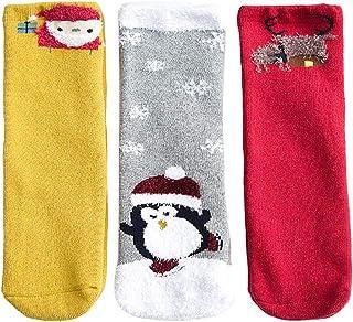 Kapmore 3 Pairs Kids Socks Soft Cartoon Print Winter Socks Crew Socks for Christmas