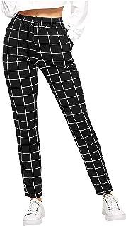 Las Mujeres Enrejado de ImpresióN Suelta Cintura Alta Bolsillo Tiempo Libre Pantalones Pantalones Harén