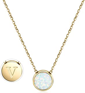 Opal Necklace Gold Plated Round Disc Initial Necklace Engraved Letter Necklace with Adjustable Chain Pendant Enhancers for Women Girls