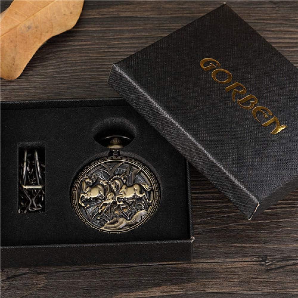 LEYUANA Reloj de Bolsillo Retro de diseño de Caballo Hueco para Hombre, Cadena Fob única Esfera Romana Steampunk Bronce Esqueleto mecánico Mano Viento Hombres Reloj