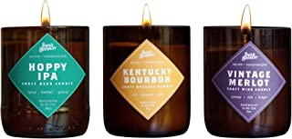 Brew Candle 3-Pack (Hoppy IPA + Kentucky Bourbon + Vintage Merlot) - Hand Poured in USA (Soy Wax) - Great Gift for Beer, Wine, and Whiskey Lovers - for The Man Cave, Brewery, or Home