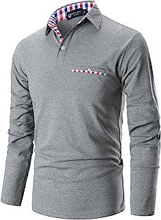 Casual Polo Hombre Mangas Largas Camisetas Deporte Algodón Clásico Plaid Cuello