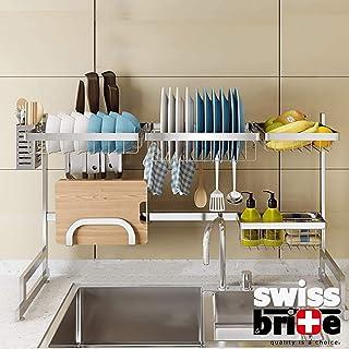 Égouttoir à vaisselle sur l'évier, égouttoir en acier inoxydable pour fournitures de cuisine et comptoir - Grande capacité...
