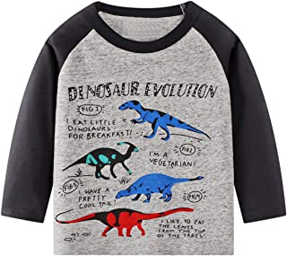 Frogwill Toddler Boys Dinosaur Long Sleeve T Shirts Top Tee Size 2-7 Years