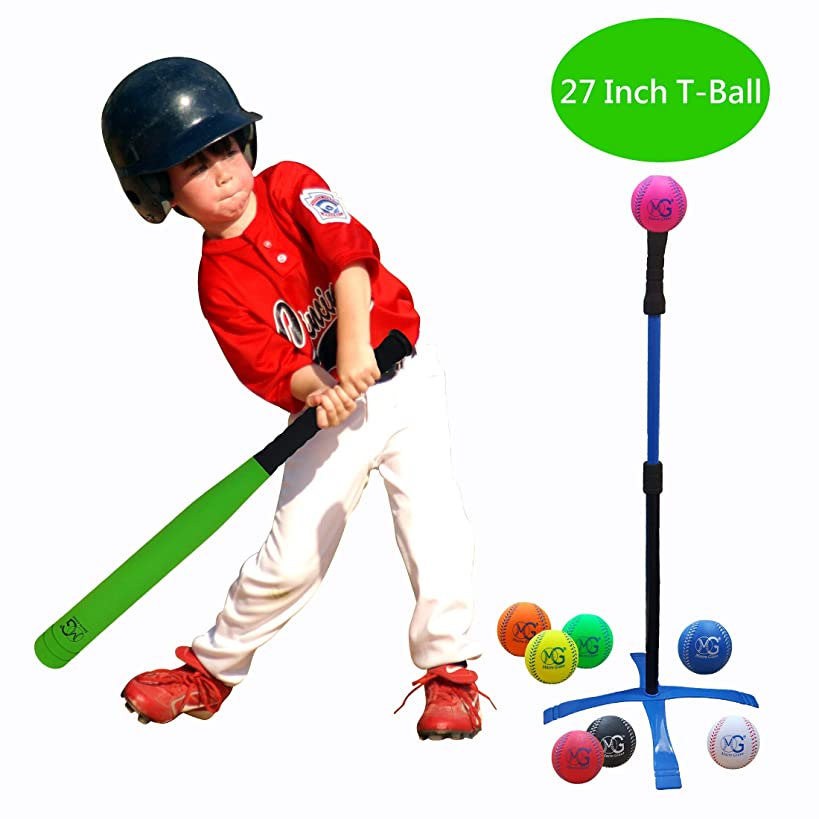 Macro Giant 27 Inch Safe T Ball, Tee Ball, T-Ball, Foam Bat and Baseball Set for Kids, 1 Bat, 8 Baseballs, Assorted Colors, Training Practice, Youth Batting Trainer, School Playground, Kid Toy