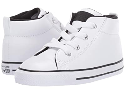 Converse Kids Chuck Taylor All Star Street Mid (Infant/Toddler) (White/White/Black) Boys Shoes