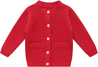 BKN Baby Girls Boys Cardigan Sweater with Decorative Pocket Button up 100% Cotton Gift for Toddlers