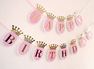 Soccerene Happy Birthday Banner for Girls. Pink Scallops, Gold Foil Crown & Letters, Fast Amazon Logistics and 100% Refund Service