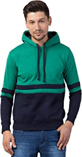 Corsair Men's Slim Fit Fashion Hooded Fleece Sweatshirt Colour Block Patter with Pockets Green Grey Orange Black Maroon