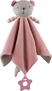 Storki Teddy Bear Blanket Plush Toy for Baby Boys and Girls, Rattle, and Teether (Pink)