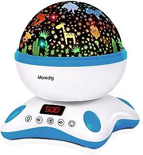 Moredig Proyector Estrellas Bebé, Lámpara Proyector Infantil Luz Nocturna con Rotación y Música, Función de Temporización ...