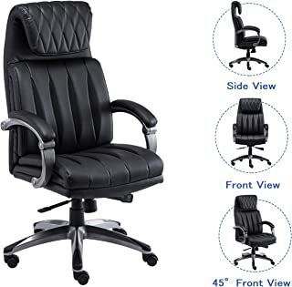 Squadise High Back Executive Office Chair PU Leather Computer Desk Chair with Adjustable Leanback Locking System-Black B